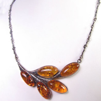 amber cabochon necklace