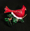 scarlet red cardinal holiday pin