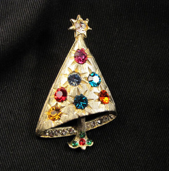 Vintage Unsigned Mylu Multi-Colored Rhinestone Christmas Tree Pin
