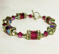 Fuschia Swarovski Crystal Toggle Bracelet