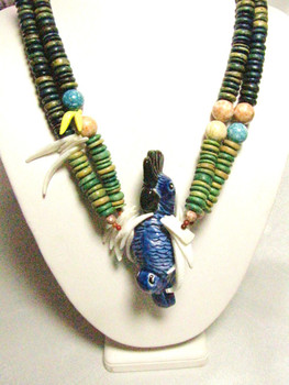 Wooden disc bead necklace with cockatiel.