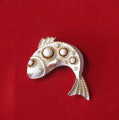 Vintage Signed Crown Trifari White Enamel Fish Pin