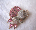 Vintage Pink and Clear Rhinestone Pin