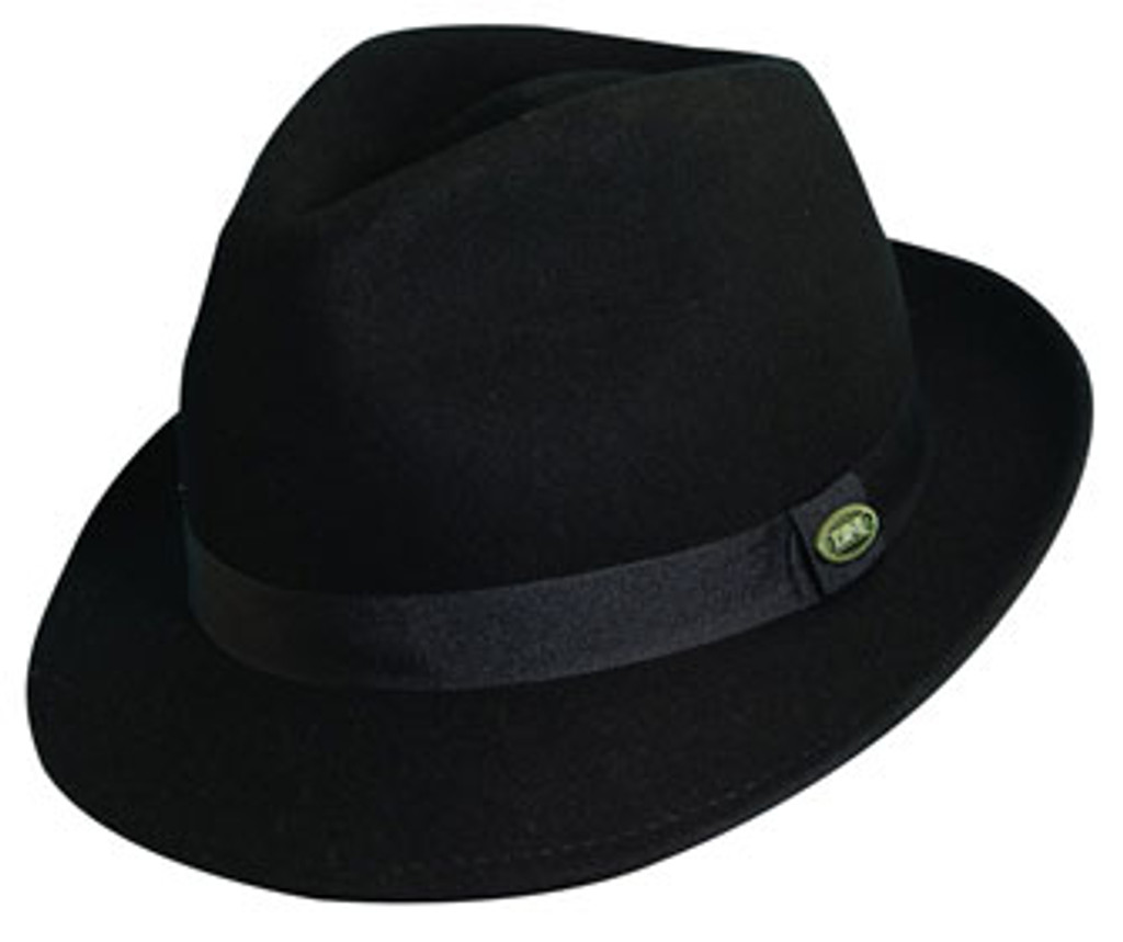 Dorfman Pacific - Black Crushable Wool Felt Fedora Hat