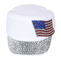 Something Special - White Jewel Cap with American Flag