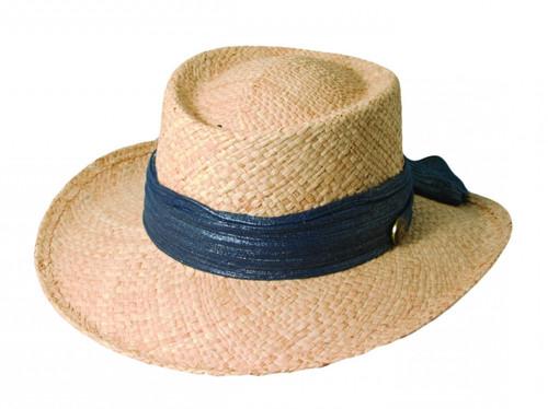 Scala - Women's Raffia Gambler Hat Navy