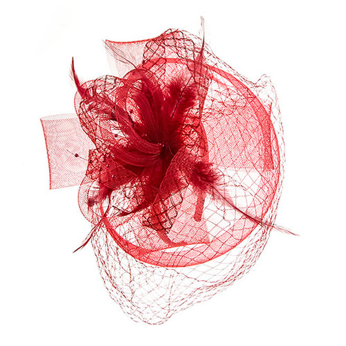 Something Special - Red Lace Fascinator Hat with Feathers