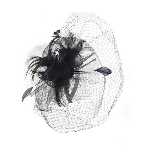 Something Special - Sinamay Lace and Feather Fascinator Hat