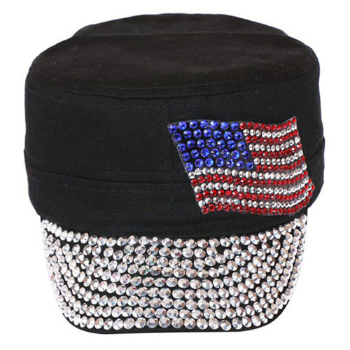 Something Special - Black Jewel Cap with American Flag