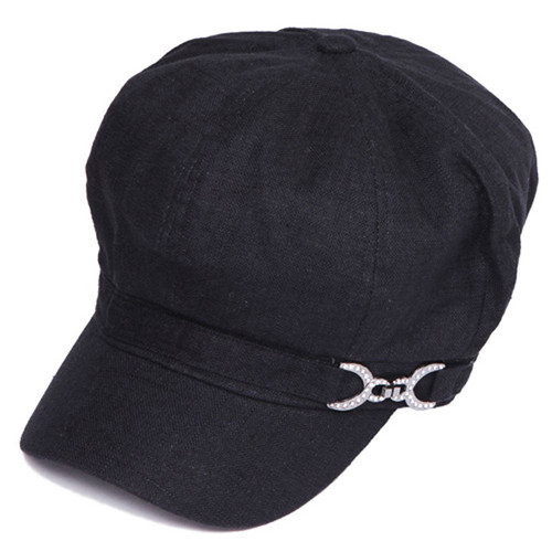Something Special - Black Newsboy Cap with Jewel Buckle