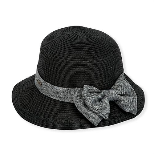 Sun 'N' Sand - Black Gia Paper Braid Cloche Hat