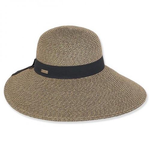 "Sun 'N' Sand - Black 5.75"" Wide Brim Tweed Sun Hat"