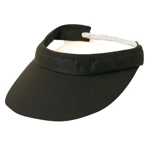 Dorfman-Pacific - Cotton Visor with Shoe String Band Black