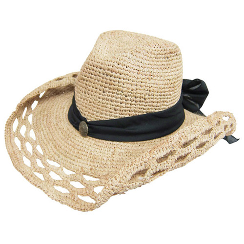 Dynamic Asia - Crochet Raffia Cowboy Hat with Sash