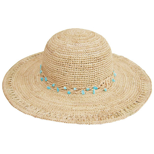 Dynamic Asia - Raffia Sun Hat with Turquoise Beads