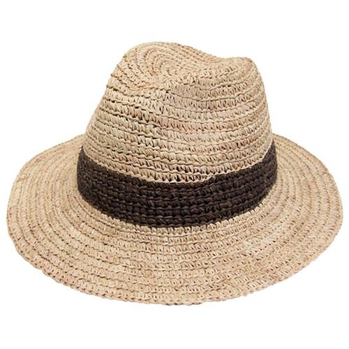 Dynamic Asia - Crochet Raffia Large Brim Fedora Hat