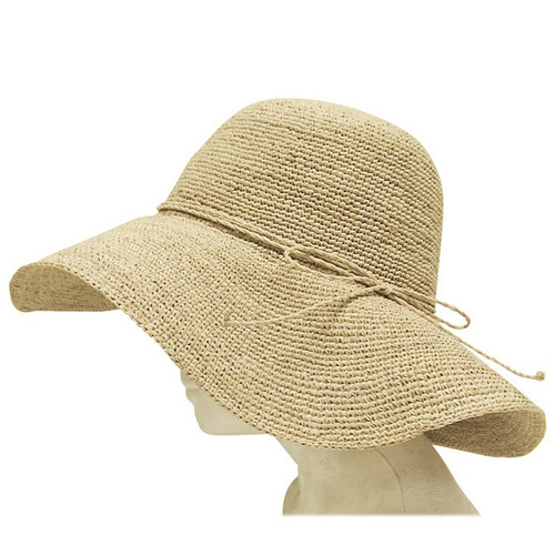 Boardwalk Style - Fine Crochet Raffia Floppy Hat