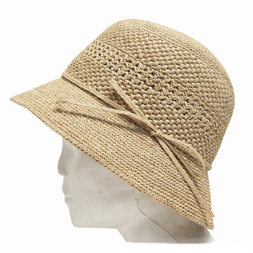 Boardwalk Style - Fine Crochet Raffia Cloche Hat - Profile