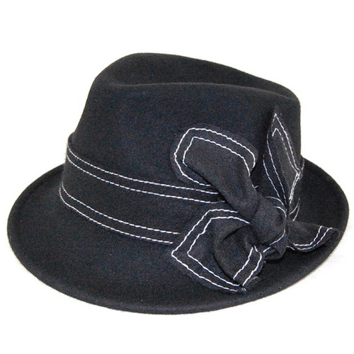 Downtown Style - Black Wool Felt Fedora with Flower