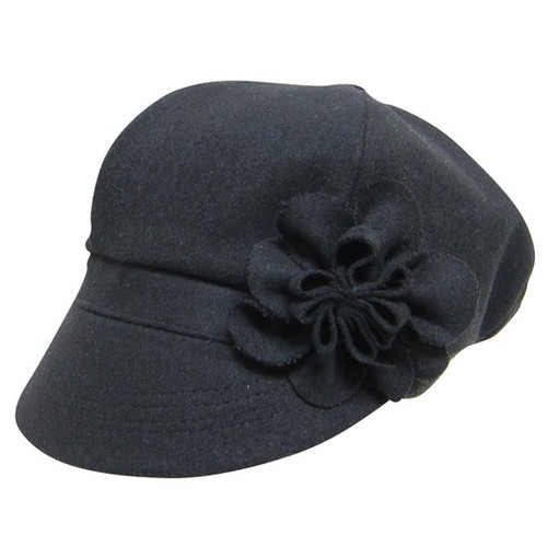 Downtown Style - Black Wool Felt Cabbie Cap