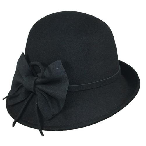 Jeanne Simmons - Wool Felt Cloche Hat Black