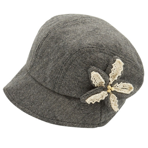 Downtown Style - Cabbie Flower Bucket Hat Grey Main