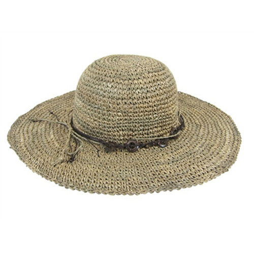 Boardwalk Style - Seagrass Crochet Sun Hat With Beads