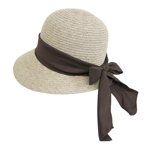Boardwalk Style - Lampshade Sun Hat With Brown Linen Bow