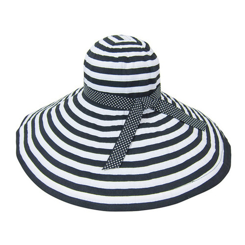 Boardwalk Style - Extra Large Brim Striped Ribbon Crushable Hat