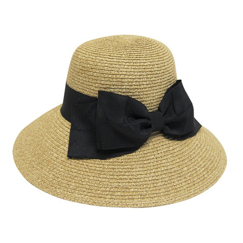 Boardwalk Style - Double Bow Straw Lampshade Hat