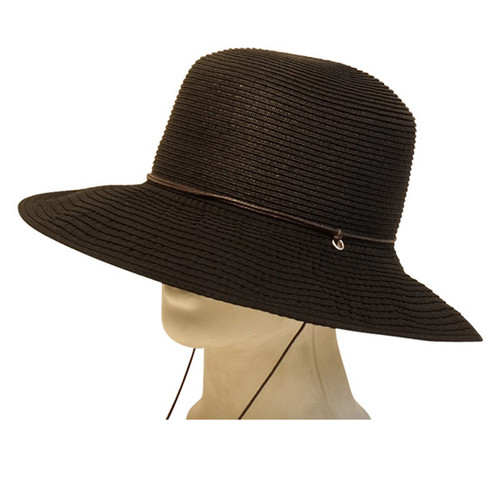 Boardwalk Style - Black Straw and Ribbon Lampshade Hat With Cord