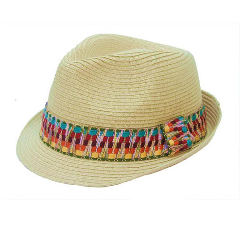 Boardwalk Style - Natural Straw Fedora With Tribal Band
