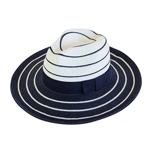 Boardwalk Style - Striped Safari Fedora Hat Black