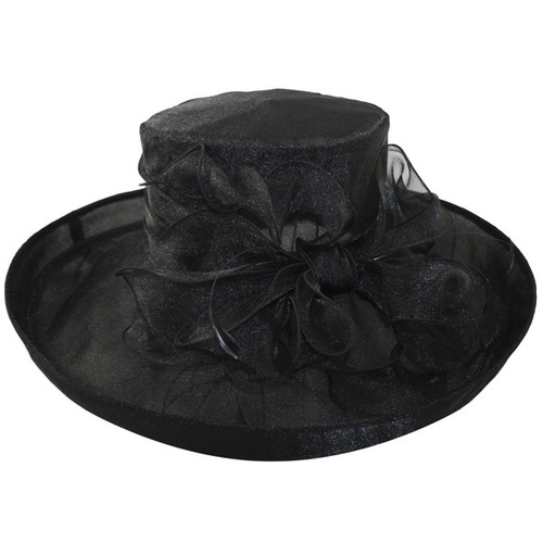 "Jeanne Simmons - 5"" Brim Black Fancy Hat"