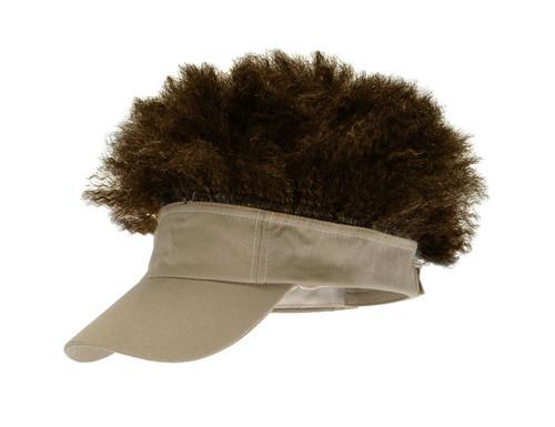 Elope - Afro Visor Hat Tan With Brown Hair