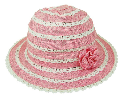 Boardwalk Style - Child's Linen Blend Sun Hat with Flower