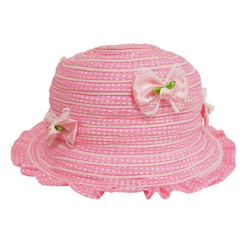 Boardwalk Style - Child's Ruffle Sun Hat with Bows Pink