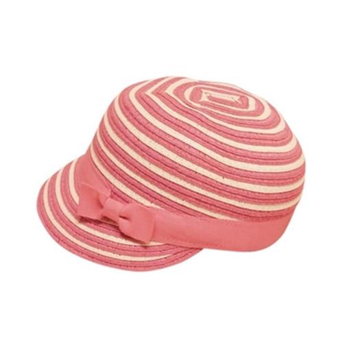 Boardwalk Style - Kids Striped Straw Cap in Fuchsia - Full View