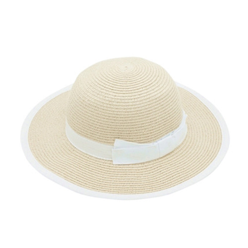 Boardwalk Style - Child's Sun Hat with Bow and Edge Trim in Natural - Full View
