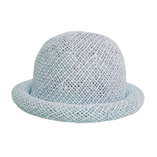 Boardwalk Style Kids Straw Roller Hat in Blue - Full View