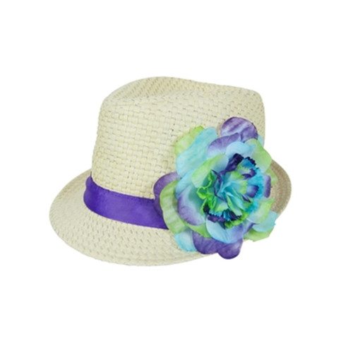 Boardwalk Style Girls Straw Fedora with Silk Flower in Natural - Full View