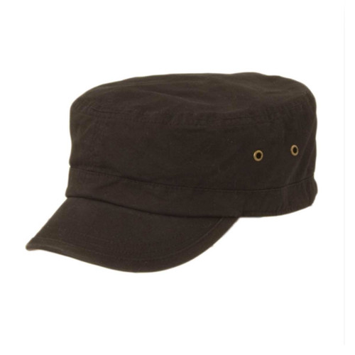TLS Stefeno Caleb Military Cap in Black - Full View