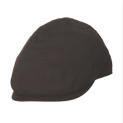 TLS Stefeno Ken Cotton Fashion Panel Flat Cap in Black - Full View