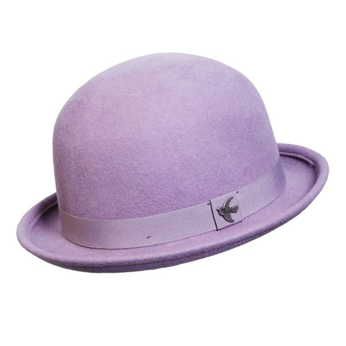 Conner - St. George Wool Bowler Hat in Lilac - Full View