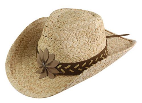 California Hat Company - Raffia Cowboy Hat With Flower Trim