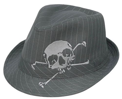 Kenny K - Skull Embroidered Fedora Hat