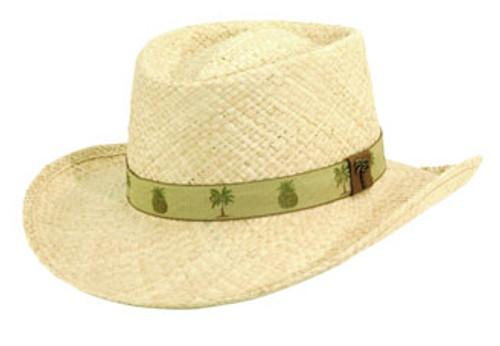 Scala - Palm Pineapple Raffia Gambler Hat