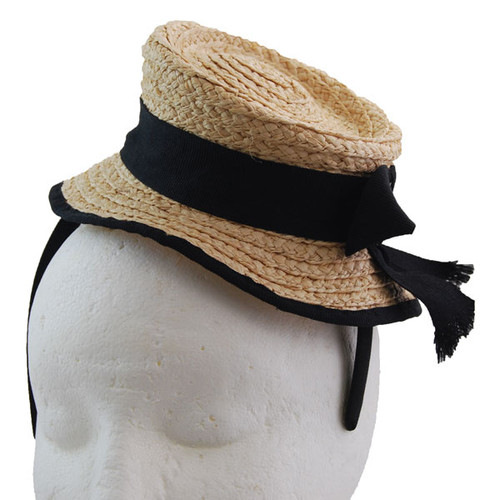 Jeanne Simmons - Straw Mini Boater Fascinator (Front)