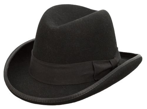 Kenny K - Black Wool Felt Homburg Hat