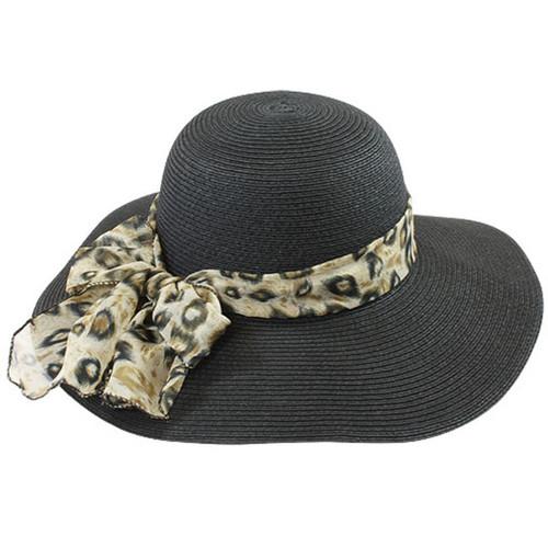 California Hat Company - Black Sun Hat with Leopard Trim